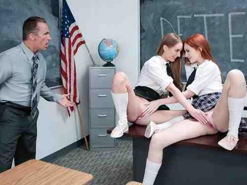 Boquete Na Escola Com Professor Safado Comendo Duas Alunas